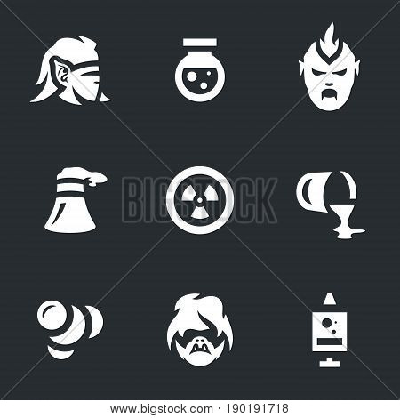 Man, bulb, monster, cooling tower, nuclear, pipe, atoms, ghoul, syringe.