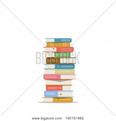 Stack of books on a white background. Pile of books vector illustration. Icon stack of books in flat style.