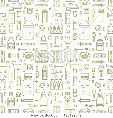 Medical, drugstore seamless pattern, pharmacy vector colored background of pastel beige color. Medicines antibiotics, vitamins, painkillers, pills. Healthcare cute repeated illustration for hospital.