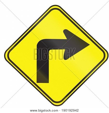 Road Sign Used In Uruguay - Sharp Curve 90 Degrees To Right