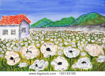 House on meadow with white flowers, oil painting.