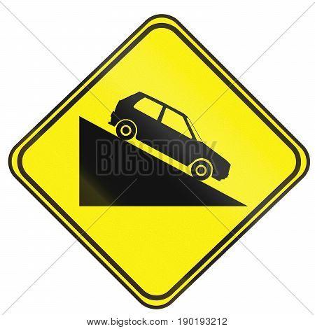Steep Descent Warning Road Sign In Uruguay