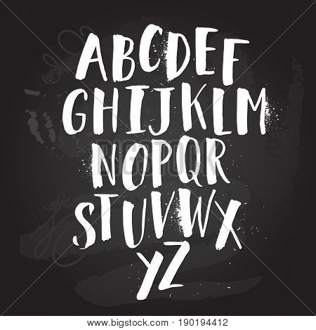 Alphabet poster, dry brush ink artistic modern calligraphy print. Handdrawn trendy design with authentic and unique scrapes and scratches for a logo, cards, invitations, posters, banners.