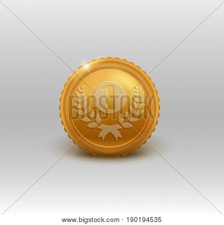Gold medal for first place. Vector illustration EPS 10