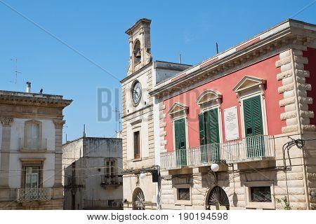 Perspective of clocktower. View of Putignano. Puglia. Italy.