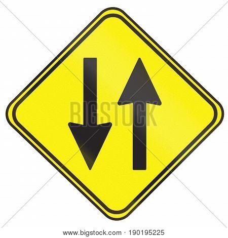 Opposing Traffic Warning Sign Used In Uruguay