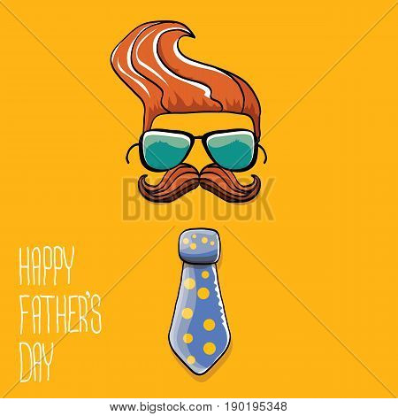 happy fathers day vector cartoon background with color tie, mustache, sunglasses and greeting text . fathers day vector label