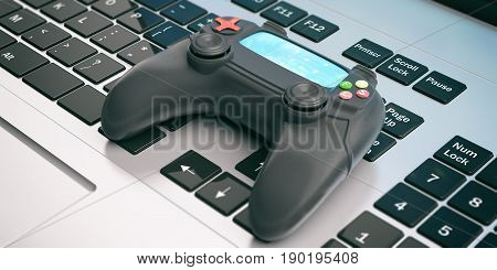 Video Games Console Controller On A Computer. 3D Illustration