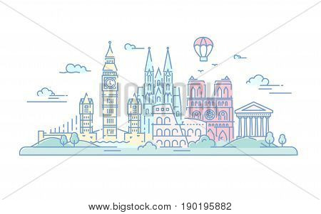 European Countries - modern vector line travel illustration. Italy Germany and Great Britain. Destination scenics for postcard banner leaflet. World famous landmarks