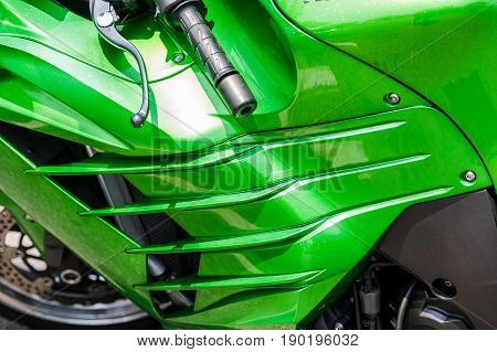 A Green Cowling on a Sports Motorcycle