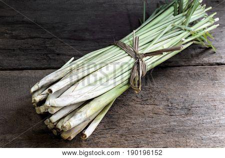 Bundle of Lemon Grass on wood table.