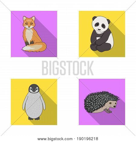 Fox, panda, hedgehog, penguin and other animals.Animals set collection icons in flat style vector symbol stock illustration .