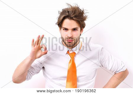 Caucasian Macho In Acid Orange Tie
