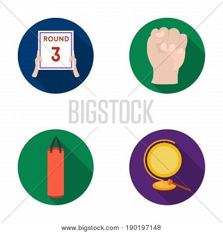 Boxing, sport, round, hand .Boxing set collection icons in flat style vector symbol stock illustration .