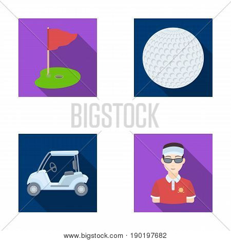 Field with a hole and a flag, a golf ball, a golfer, an electric golf cart.Golf club set collection icons in flat style vector symbol stock illustration .