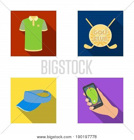 Emblem of the golf club, cap with a visor, golfer shirt, phone with a navigator.Golf club set collection icons in flat style vector symbol stock illustration .