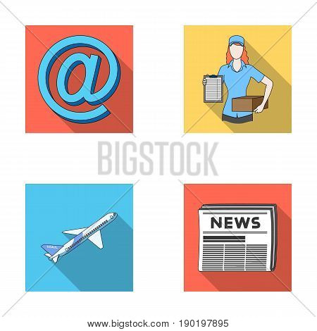 Email symbol, courier with parcel, postal airplane, pack of newspapers.Mail and postman set collection icons in flat style vector symbol stock illustration .