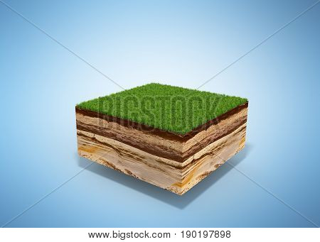 3D Illustration Of Cross Section Of Ground With Grass Isolated On Blue