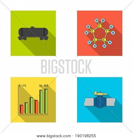 Railway tank, chemical formula, oil price chart, pipeline valve. Oil set collection icons in flat style vector symbol stock illustration .