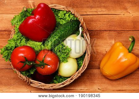 Farming Concept, Vegetables, Lettuce, Tomatoes, Onions, Peppers, Cucumber In Basket