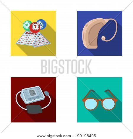 Lottery, hearing aid, tonometer, glasses.Old age set collection icons in flat style vector symbol stock illustration .