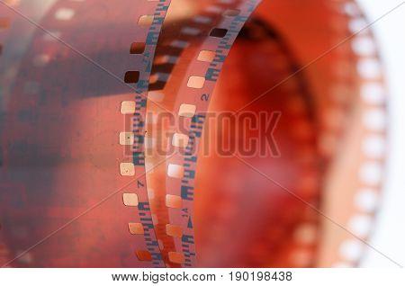 rolled vintage 35mm color negative film image of a