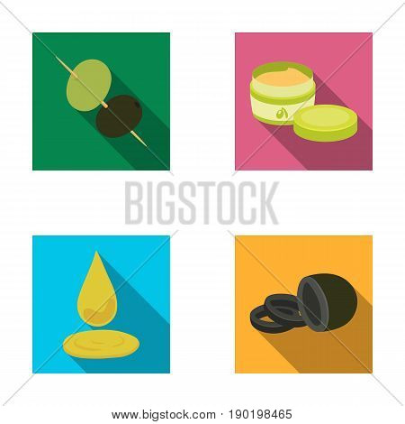 Olives on skewers. A piece of black olives, a jar of cream, a drop of oil.Olives set collection icons in flat style vector symbol stock illustration .