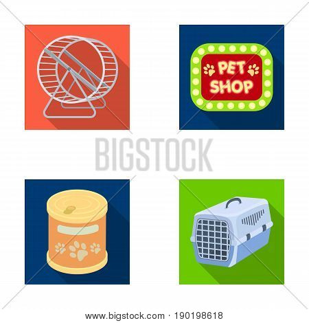 Container for carrying animals and other attributes of the zoo store. Pet shop set collection icons in flat style vector symbol stock illustration .