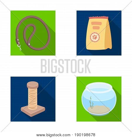 Leash, feed and other zoo store products.Pet shop set collection icons in flat style vector symbol stock illustration .