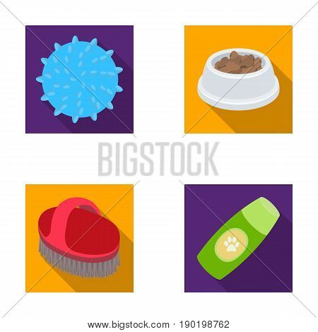 The ball, feed, shampoo and other zoo store products. Pet shop set collection icons in flat style vector symbol stock illustration .