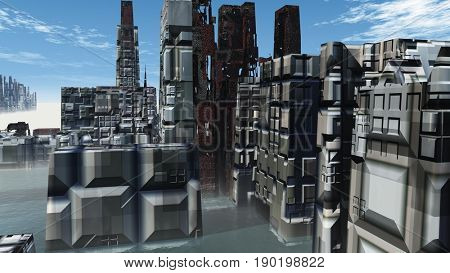 Birdseye view of the future city 3D render