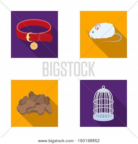 A collar, a forage, a toy, a cage and other products of the zoo store.Pet shop set collection icons in flat style vector symbol stock illustration .