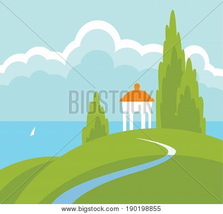 Spring landscape with a gazebo on the hill above the water. Vector illustration with hills road sea sailboat and sky with clouds in flat style.