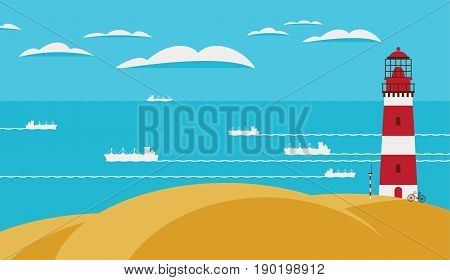 Seascape with lighthouse on the hill above the water. Vector illustration with hills sea ships and sky with clouds in flat style.