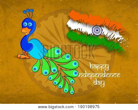 illustration of Peacock and India flag with happy independence day text on the occasion India independence day