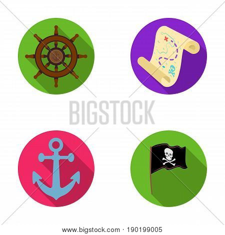 Pirate, bandit, rudder, flag .Pirates set collection icons in flat style vector symbol stock illustration .