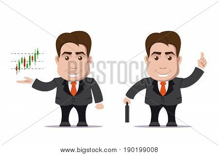 picture of cute business man with suitcase and candlestick graph, flat style illustration