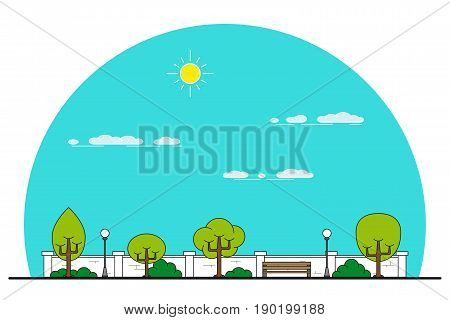picture of a bench in park, trees and streetlight, park alley, place for rest, thin line flat style illustration