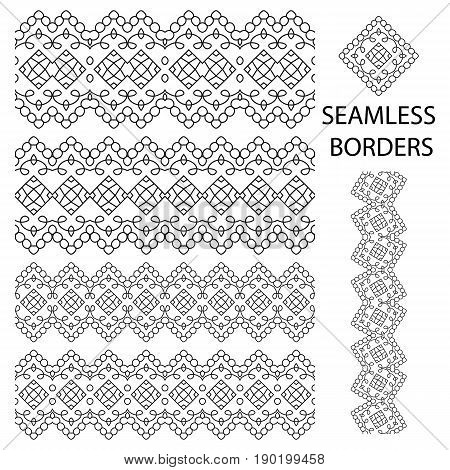 Seamless Borders Set Isolated On White. Decorative Tileable Ornaments Collection. Vector Illustratio