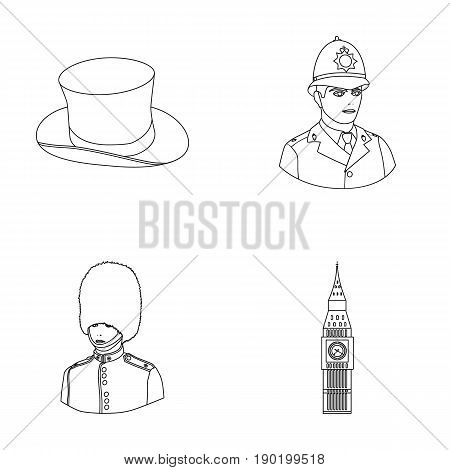 England, gentleman, hat, officer .England country set collection icons in outline style vector symbol stock illustration .