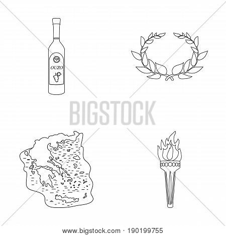 Greece, country, tradition, landmark .Greece set collection icons in outline style vector symbol stock illustration .