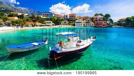 Sunny colorful Greece - picturesque village Assos in Kefalonia, Ionian islands