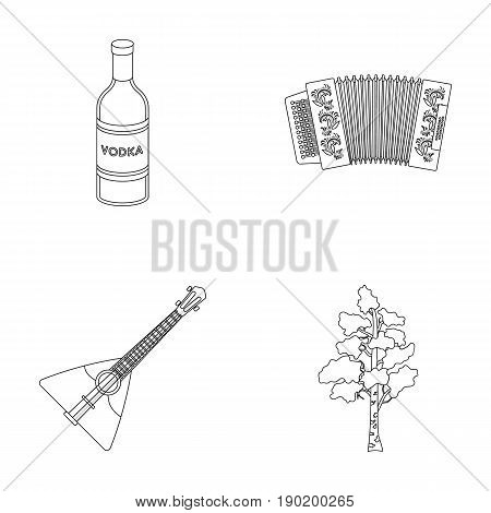 Russia, country, vodka, accordion .Russia country set collection icons in outline style vector symbol stock illustration .