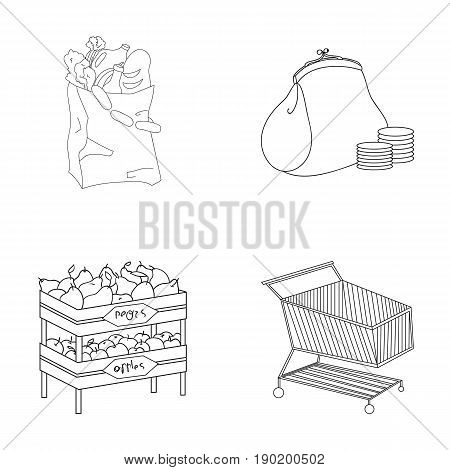 Sausages, fruit, cart .Supermarket set collection icons in outline style vector symbol stock illustration .