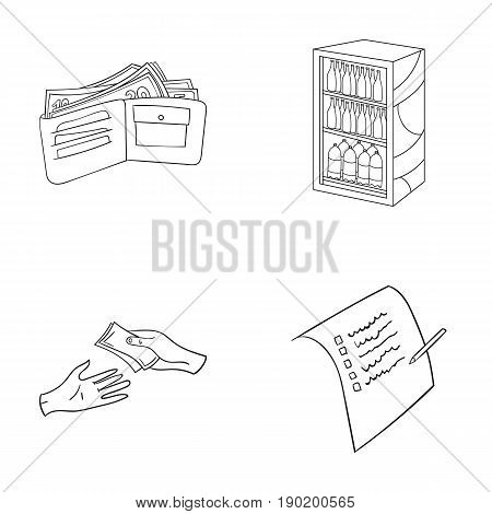 Purchase, goods, shopping, showcase .Supermarket set collection icons in outline style vector symbol stock illustration .