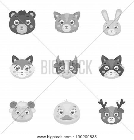 Wild and domestic animals. A set of pictures about animals. Animal muzzle icon in set collection on monochrome style vector symbol stock  illustration.