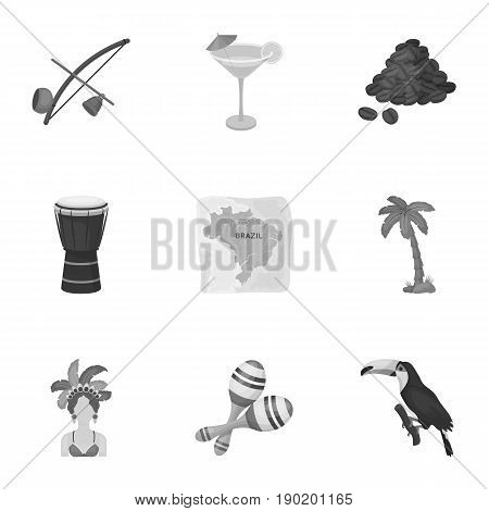 set of icons on the subject of Brazil. Brazilian national attractions. Brazil country Aicon in set collection on monochrome style vector symbol stock  illustration.