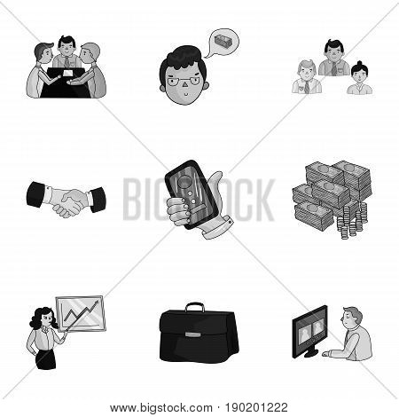 A set of pictures about the transaction, work, office. Office center, analytics.Business conference and ntgotiations icon in set collection on monochrome style vector symbol stock  illustration.