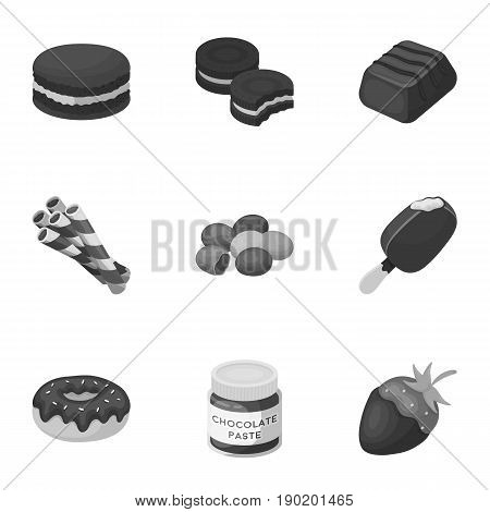 A set of chocolate sweets. Chocolate products for people. Chocolate desserts icon in set collection on monochrome style vector symbol stock  illustration.