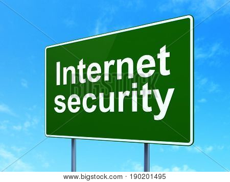 Privacy concept: Internet Security on green road highway sign, clear blue sky background, 3D rendering